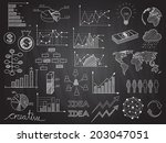 set of chalkboard info graphics ... | Shutterstock .eps vector #203047051