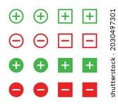 plus and minus vector icon set