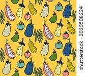 seamless pattern vegetable hand ... | Shutterstock .eps vector #2030508224