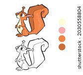 squirrel coloring page for...   Shutterstock .eps vector #2030558804