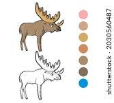 elk coloring page for preschool ...   Shutterstock .eps vector #2030560487