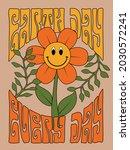 70s retro smiling daisy flower...   Shutterstock .eps vector #2030572241