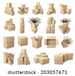 set of piles of cardboard boxes ... | Shutterstock . vector #203057671