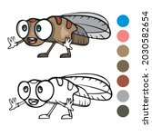 fly coloring page for preschool ...   Shutterstock .eps vector #2030582654
