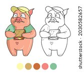 pig coloring page for preschool ...   Shutterstock .eps vector #2030582657