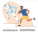 Robot And Human Running...