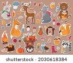 autumn forest animals stickers... | Shutterstock .eps vector #2030618384