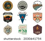 vintage mountain camping badges ... | Shutterstock . vector #2030641754