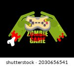 zombie game. zombie plays on a...   Shutterstock .eps vector #2030656541