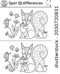 Find differences line game for kids. Black and white Autumn forest educational activity with squirrel and acorn. Printable worksheet with cute animal. Woodland puzzle. Fall preschool coloring page