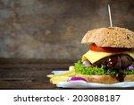 juicy cheeseburger on the... | Shutterstock . vector #203088187