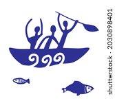 primitive men are fishing in... | Shutterstock .eps vector #2030898401
