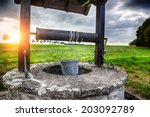 ancient draw well in european... | Shutterstock . vector #203092789