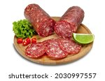 Piece Of Sliced Salami With...