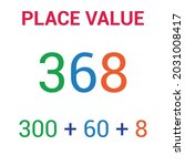 place value chart. one tens and ... | Shutterstock .eps vector #2031008417