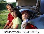 three cheerful child sitting in ... | Shutterstock . vector #203104117