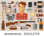 Flat modern design vector icons set of real man tools and equipment. Icon collection in stylish colors of gentleman things, stuff, goods and personal effects on a wooden trendy background