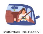 sleepy tired woman driver in... | Shutterstock .eps vector #2031166277