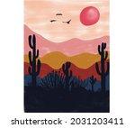desert cactus water color...   Shutterstock .eps vector #2031203411