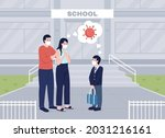 worried parents see their son...   Shutterstock .eps vector #2031216161
