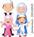 happy muslim family cartoon | Shutterstock . vector #203128525