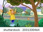 cheerful girl in yellow...   Shutterstock .eps vector #2031330464