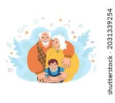 joyful european grandparents...   Shutterstock .eps vector #2031339254