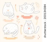 Stock vector cute pink cats set 203134384