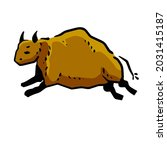 rock art. drawing of a bull or... | Shutterstock .eps vector #2031415187