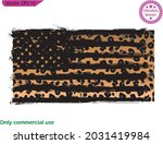 america flag with leopard... | Shutterstock .eps vector #2031419984