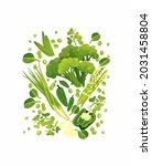 green goods  fresh vegetables ... | Shutterstock .eps vector #2031458804