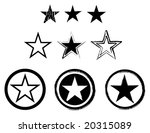 Set Of Stars In Black And Whit...