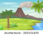 prehistoric landscape | Shutterstock .eps vector #203151655