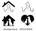 dog and cat pet caring symbol   Shutterstock .eps vector #203153509