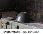 Old Military Helmet On The...