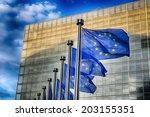 eu flags in front of european... | Shutterstock . vector #203155351
