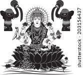 indian goddess lakshmi vector... | Shutterstock .eps vector #203156437