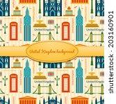 landmarks of united kingdom ... | Shutterstock .eps vector #203160901