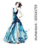 blue dress fashion illustration ... | Shutterstock .eps vector #203161705