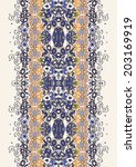 floral border in blue and... | Shutterstock .eps vector #203169919