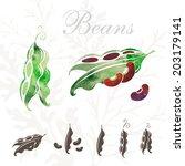 beans icons set. | Shutterstock .eps vector #203179141