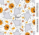 halloween vector seamless... | Shutterstock .eps vector #2031792011