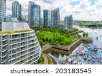 vancouver aerial close view of...