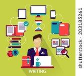 flat design . freelance career. ... | Shutterstock .eps vector #203185261