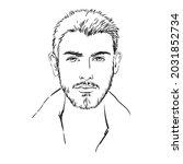 young beautiful man with beard  ... | Shutterstock .eps vector #2031852734