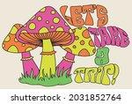 retro 70's psychedelic hippie... | Shutterstock .eps vector #2031852764
