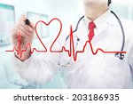 doctor with stethoscope in a... | Shutterstock . vector #203186935