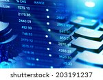 financial data on a monitor.... | Shutterstock . vector #203191237