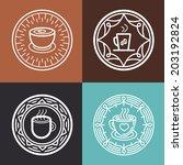 vector coffee mug on round... | Shutterstock .eps vector #203192824