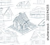 architect desktop house sketch... | Shutterstock . vector #203194255